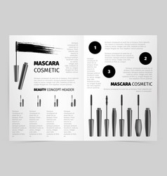 Booklet with realistic mascara objects vector