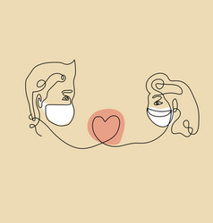 Boyfriend and girlfriend masked couple in line art vector