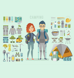 Camping infographic young couple ready vector