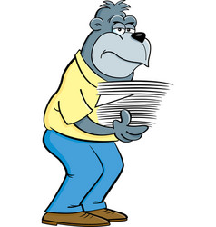 Cartoon gorilla holding an armload of papers vector