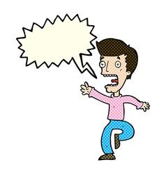 Cartoon terrified man with speech bubble vector
