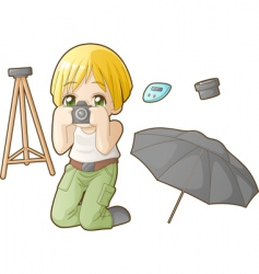 chibi professions sets photographer vector image vector image