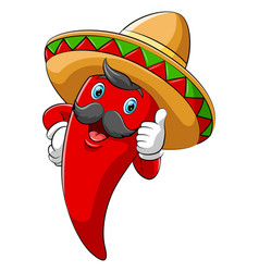 chili with sombrero giving thumb up vector image