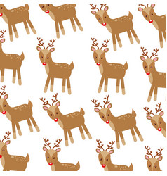 Christmas cute winter reindeer decoration pattern vector