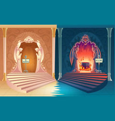 Closed heaven and opened hell gates vector