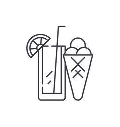 cocktail and ice cream line icon concept cocktail vector image