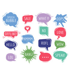 communication tags cartoon speech bubbles vector image