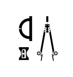 compass sharpener ruler black icon sign vector image
