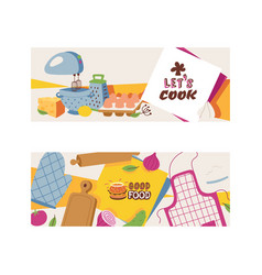 cooking appliances and restaurant utensil and food vector image