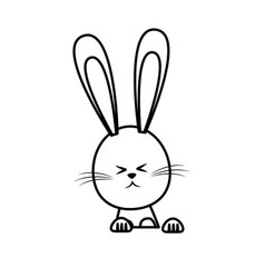 cute easter bunny funny animal line vector image