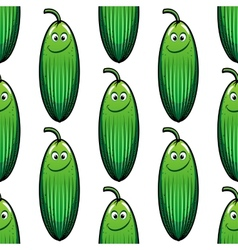 Cute green cucumber in a seamless pattern vector