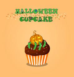 cute happy halloween chocolate cupcake with vector image