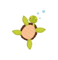 cute swimming turtle cartoon character of marine vector image