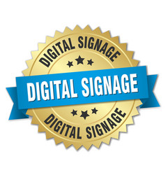 Digital signage round isolated gold badge vector