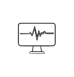 ecg machine displaying heartbeat hand drawn vector image