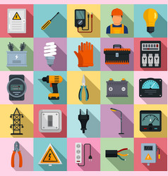 Electrician service icons set flat style vector