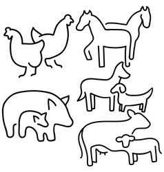 farm animals set livestock eps 10 vector image