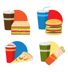 fast food lunch set vector image