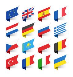 Flags world europe set 1 vector