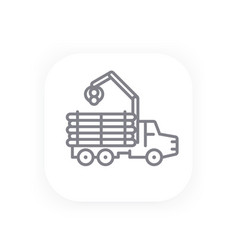 Forwarder line icon logging truck vector