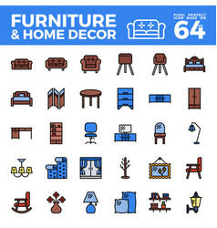furniture and home decor outline colir icon vector image