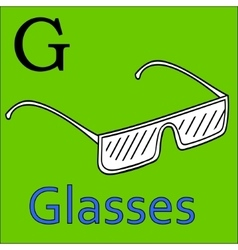 G letter alphabet Coloring book glasses vector image
