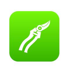 Garden shears icon digital green vector