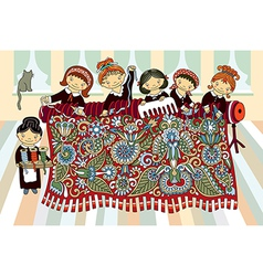 girls working at the hand-loom weaving vector image
