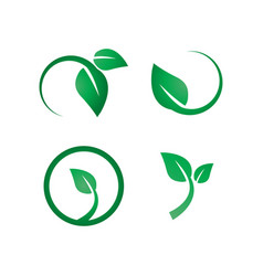 Green leaf logo icon design template vector