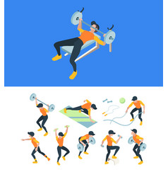 gym training fitness workout people making sport vector image
