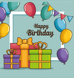 happy birthday gifts design vector image
