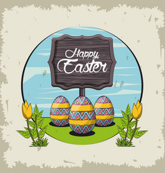 happy easter day card vector image