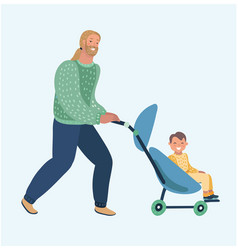 happy funny father walking with newborn child vector image