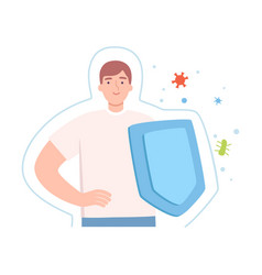 healthy man with shield surrounded invisible vector image
