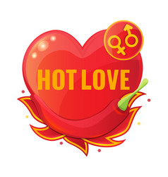 hot love concept with red pepper and flame vector image