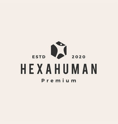 human hexagon box hipster vintage logo icon vector image