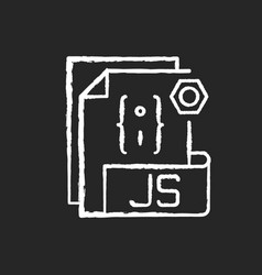 Js file chalk white icon on black background vector