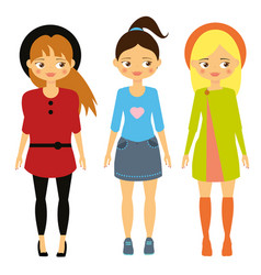 kids fashion beautiful cartoon girls in vector image
