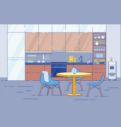 kitchen room interior with round table in studio vector image