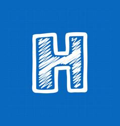 Letter h logo on blueprint paper background vector