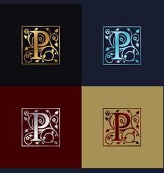letter p decorative logo vector image