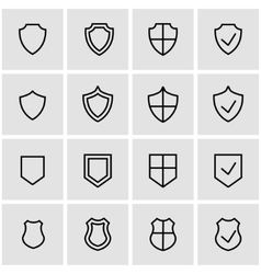 line shield icon set vector image