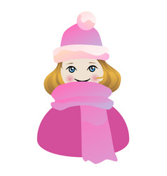 little cute girl in pink hat and scarf vector image