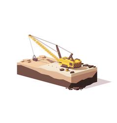 Low poly dragline excavator vector
