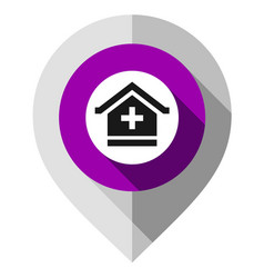 map pin hospital symbol gps pointer folded from vector image
