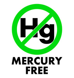 Mercury free icon letters hg chemical symbol in vector