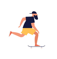 Modern guy riding skate board young bearded man vector