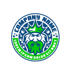 Modern poseidon logo emblem king logo vector