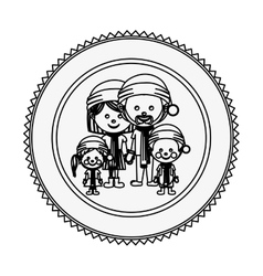 Monochrome contour circle with family with vector
