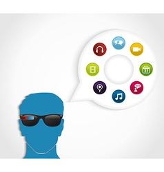 Multimedia smart glasses technology vector